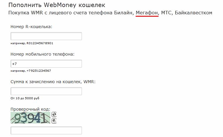 Рисунок 9. Форма заполнения заявки на пополнения счет Webmoney.