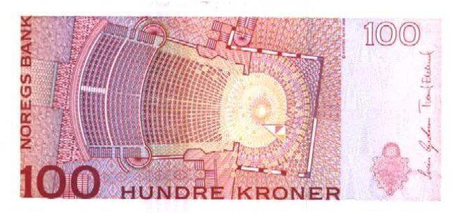Обратная сторона норвежской кроны 100 NOK.