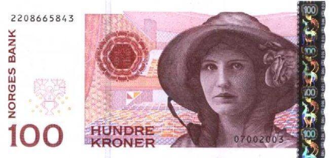 Лицевая сторона норвежской кроны 100 NOK.