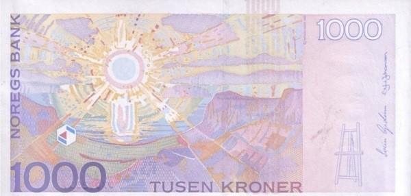 Обратная сторона норвежской кроны 1000 NOK.