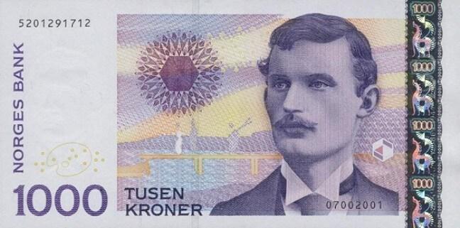 Лицевая сторона норвежской кроны 1000 NOK.