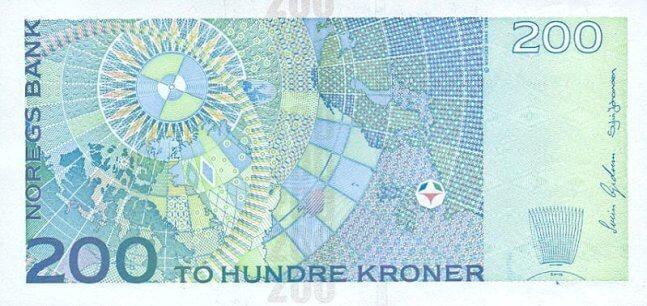 Обратная сторона норвежской кроны 200 NOK.
