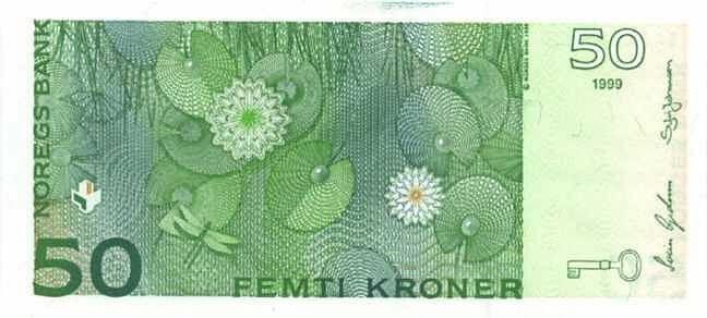 Обратная сторона норвежской кроны 50 NOK.