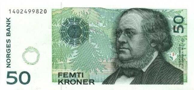 Лицевая сторона норвежской кроны 50 NOK.
