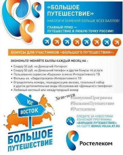"""Рисунок 1 рекламный баннер Ростелекома """"Большое путешествие"""""""