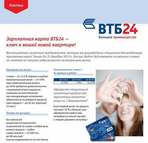 Рисунок 4. Льготы по ипотечному кредитованию от ВТБ24.