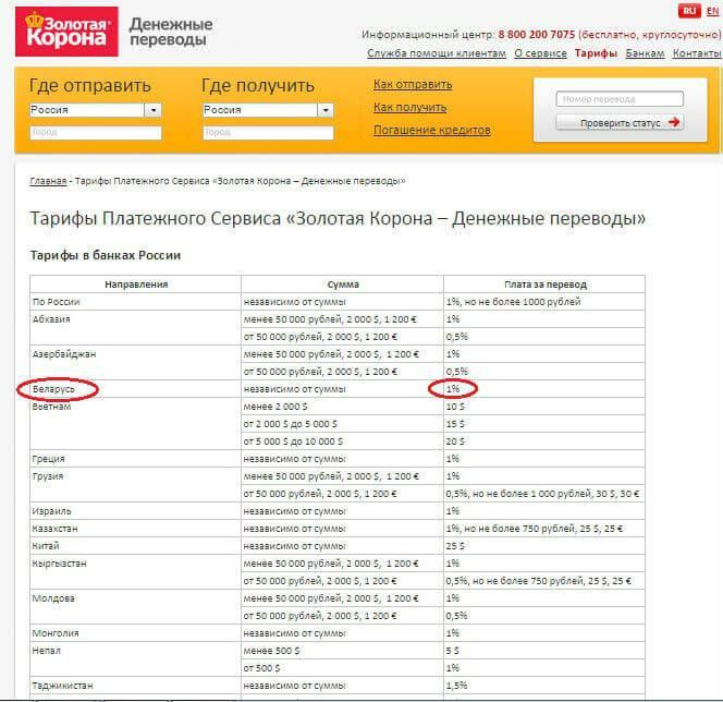 Рис.4. Тарифы платежной системы «Золотая корона».
