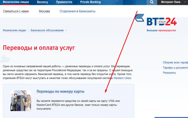 Рисунок 5 Официальный сайт банка ВТБ24 и его предложения в рамках переводов
