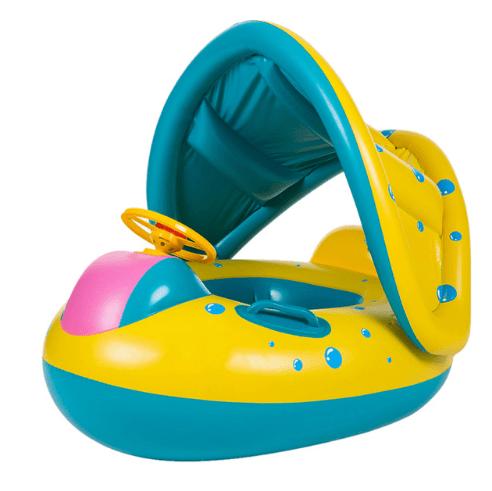 Детская надувная лодка-бассейн с навесом