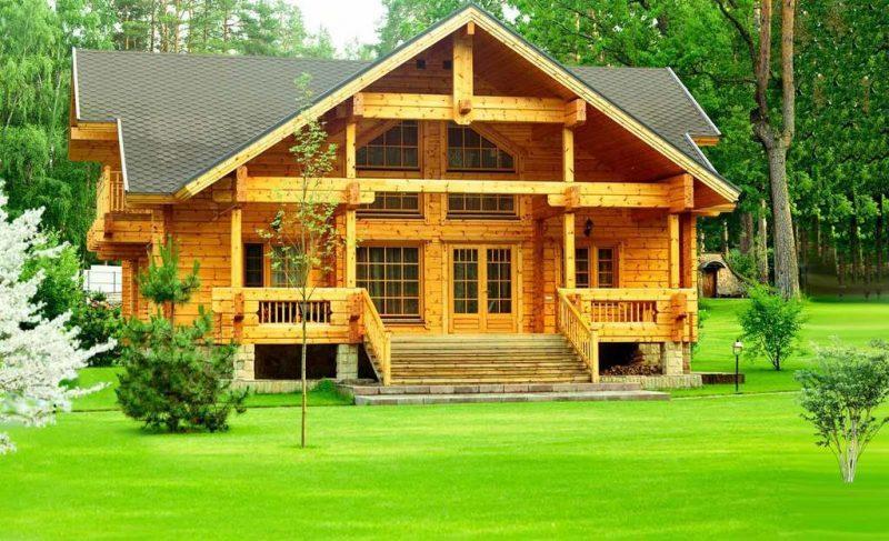 Рис. 2. Деревянный дом на зеленой лужайке. Источник: сайт «Все о душевых кабинах»