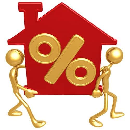 Рис. 2. Человечки, несущие дом с изображением знака процента. Источник: CreditSesame
