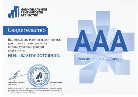 Рис. 5. Свидетельство Национального рейтингового агентства. Источник: официальный сайт фонда