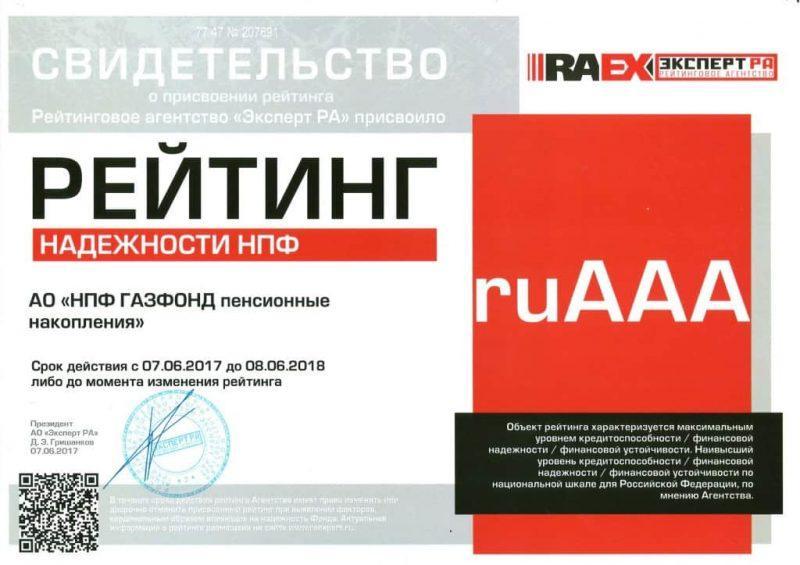 Рис. 2. Свидетельство рейтингового агентства «Эксперт РА». Источник: официальный сайт фонда