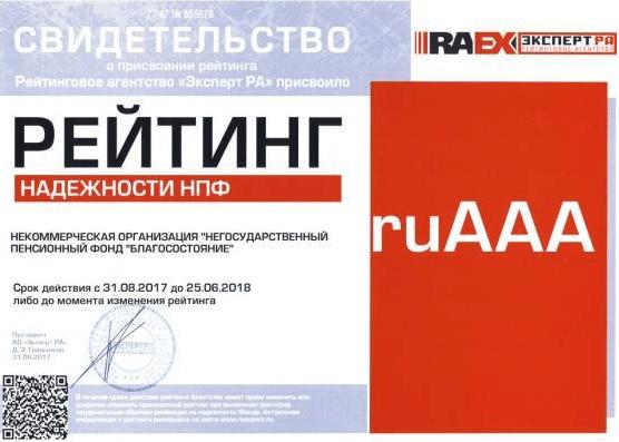 Рис.4. Свидетельство рейтингового агентства «Эксперт РА». Источник: официальный сайт фонда