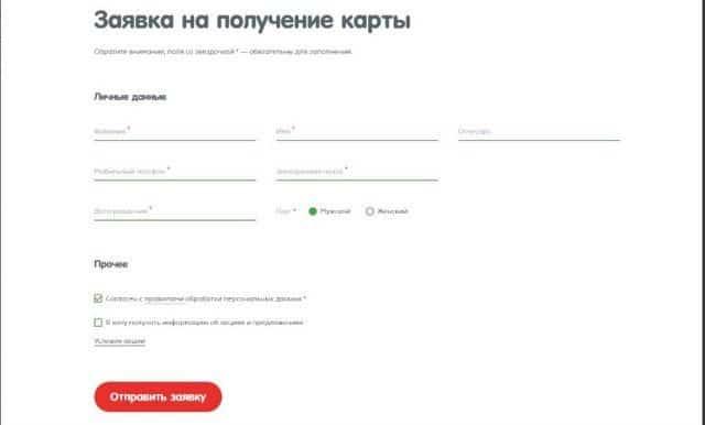 Рис. 3. Онлайн-заявка на получение карты Карусель