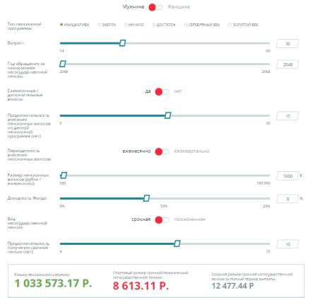 Рис. 6. Интерактивный счетчик срочной пенсии на сайте