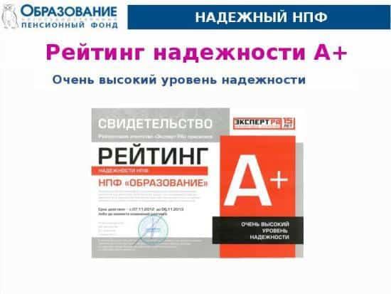 Рисунок 2. Свидетельство надежности НПФ «Образование». Источник: myslide.ru