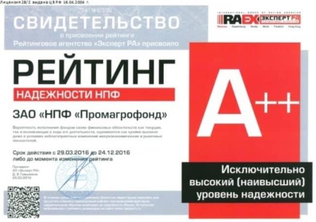 Рис.2. Свидетельство о присвоении рейтинга надежности А++