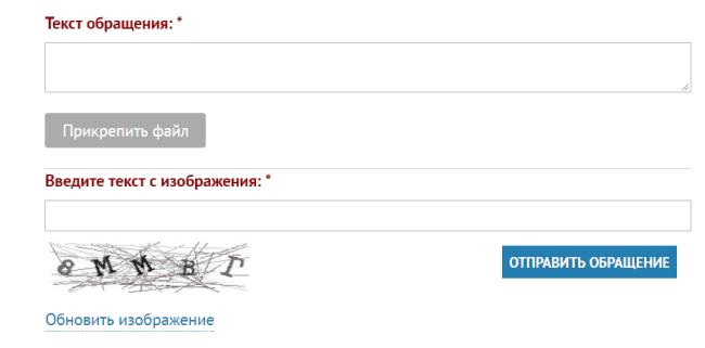 Рис 4. Проблему требуется описать в поле «Текст обращения» и, нажав на кнопку «Прикрепить файл», приложить изображение квитанции об оплате.