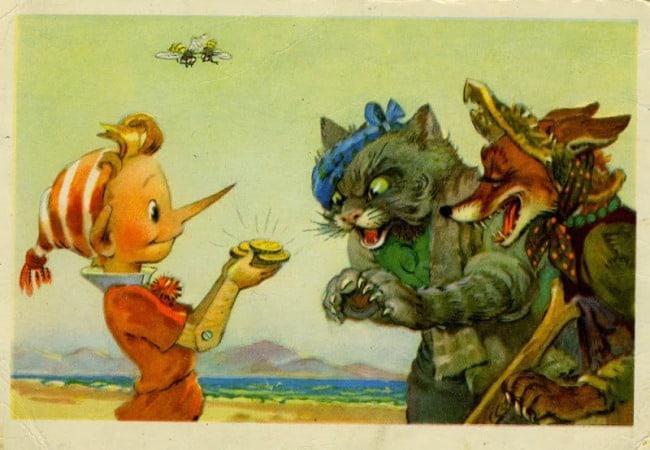 Рисунок 2. Буратино отдает деньги лисе Алисе и коту Базилио