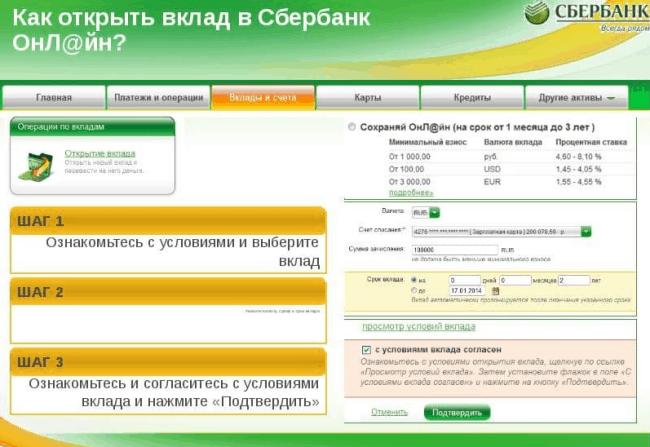 Рис. 1. Открытие вклада онлайн в Сбербанке