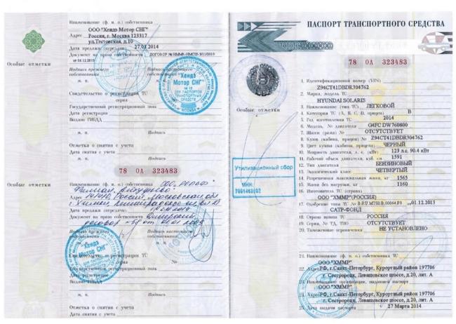 Рис. 1. Паспорт транспортного средства.