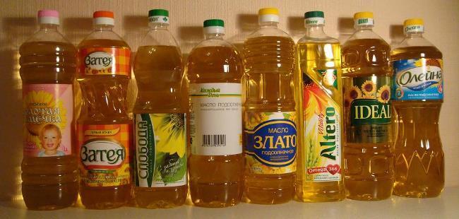 Рис 2. Такое разное подсолнечное масло