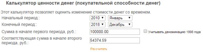 Рис. 4. Через 9 лет 100000 руб. превратились в 54000 руб.