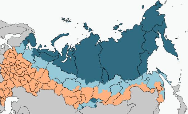 Рисунок 2. Районы Крайнего Севера (темно-синий) и приравненные к ним (голубой)