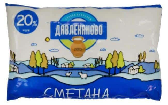 Рисунок 3. Продукт «Давлеканово» не может носить название «сметана», поскольку для его изготовления производитель использовал растительные жиры