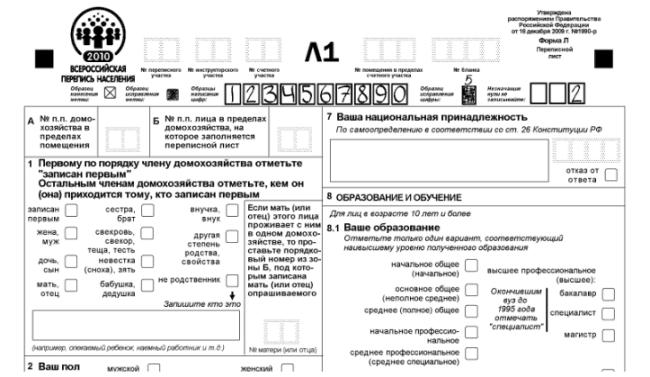 Рис. 1. «Ваша национальная принадлежность» - п. 7 переписного бланка формы Л1