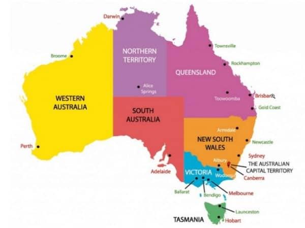 Рис. 4. Административно-территориальное деление Австралии