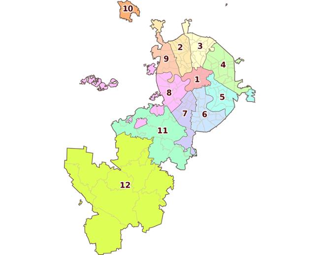 Рисунок 1. Административная карта столицы с учетом Зеленоградского (10), Новомосковского (11) и Троицкого (12) округов