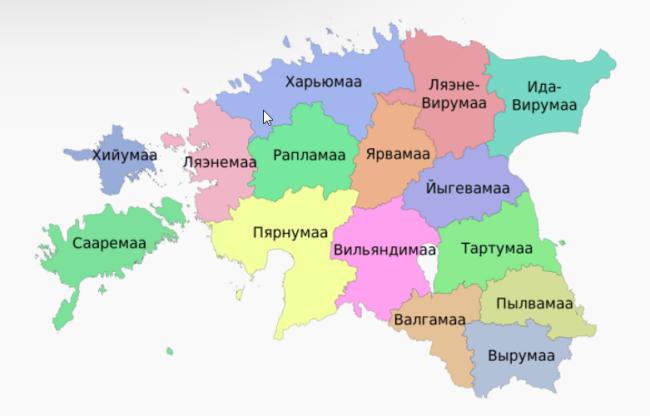 Рисунок 4. Административная карта Эстонии