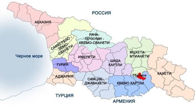 Рисунок 4. Административно-территориальная карта Грузии
