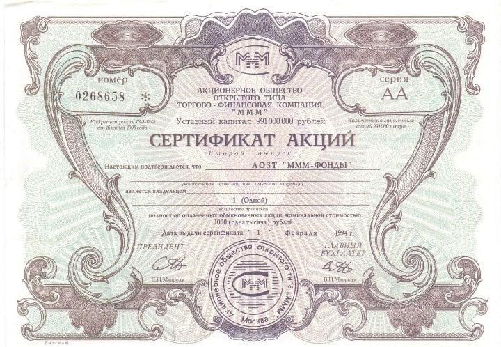 Рис. 2. Акция АОЗТ «МММ-ФОНДЫ»