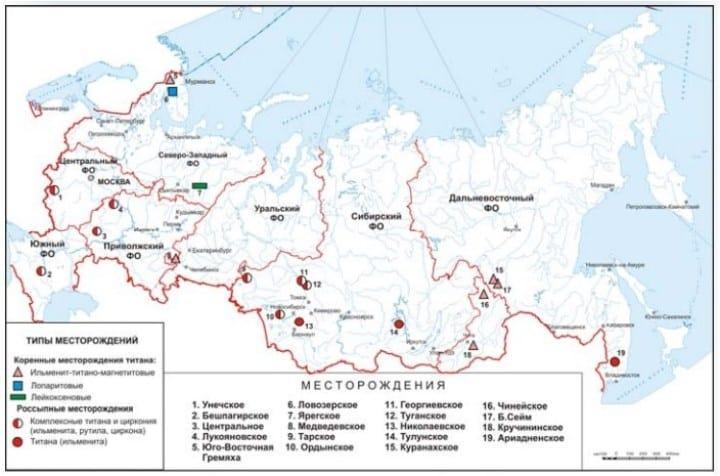 Рис. 3. Схема размещения основных месторождений TiO2 России