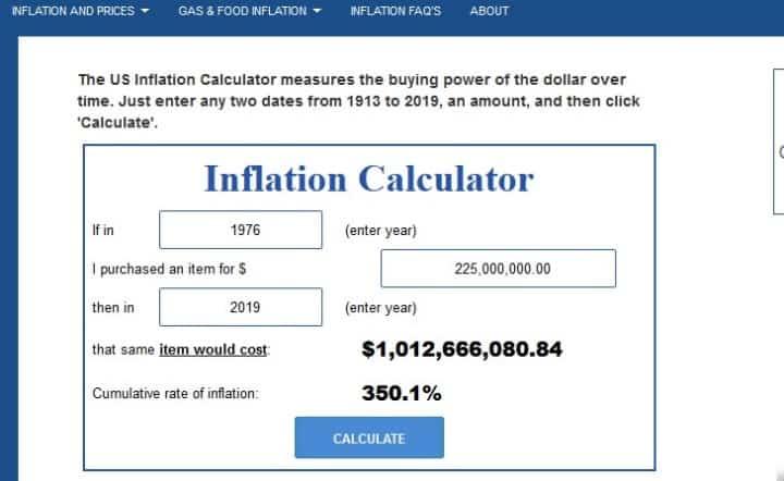 Рис. 1. Данные по инфляции стоимости доллара с 1976 года на сайте Usinflationcalculator