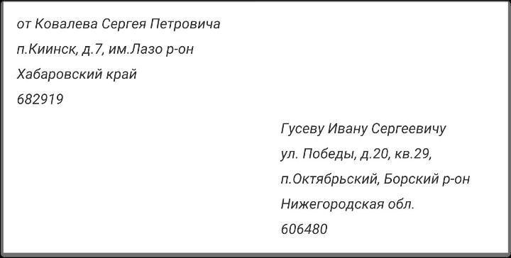 Рис. 1. Пример написания данных адресанта и адресата