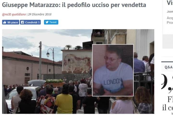 Рис. 3. Заголовки итальянских газет: педофил убит из-за вендетты