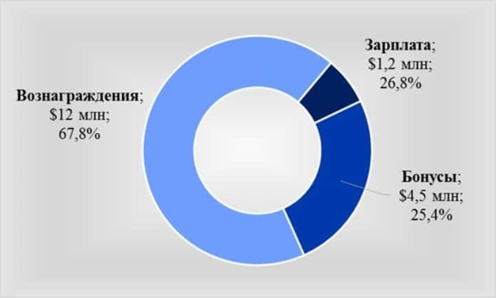 Рис. 5. Структура дохода главы софтверного гиганта С. Наделлы. Источник: Microsoft