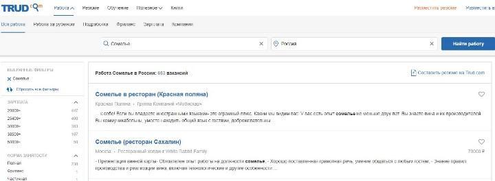 Рис. 5. Вакансии на Труд.ru