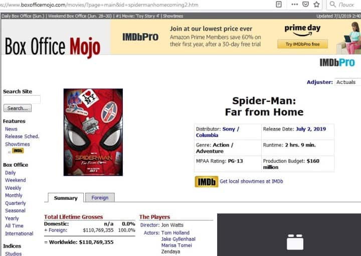 Рис. 2. Бюджет «Spider-Man: Far from Home» на сайте Boxofficemojo