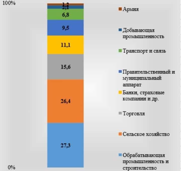 Рис. 2. Распределение занятого населения по отраслям по данным «Sur vey of Current Business», в % к итогу