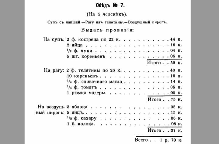 Рис. 4. Обед № 7 в книге «Записки по курсу кулинарной школы», 1904 год