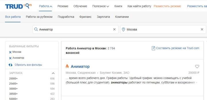 Рис. 4. Только в Москве требуется 2754 сотрудника, по данным ресурса Труд.com