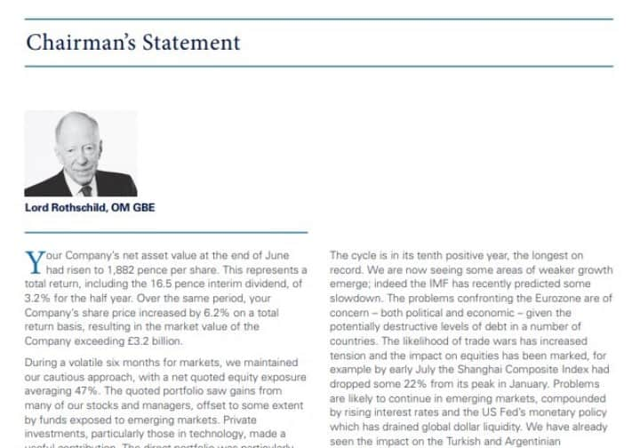 Рисунок 4. Фрагмент официального письма лорда Джейкоба Ротшильда, опубликованного на официальном сайте фонда RIT Capital Partners