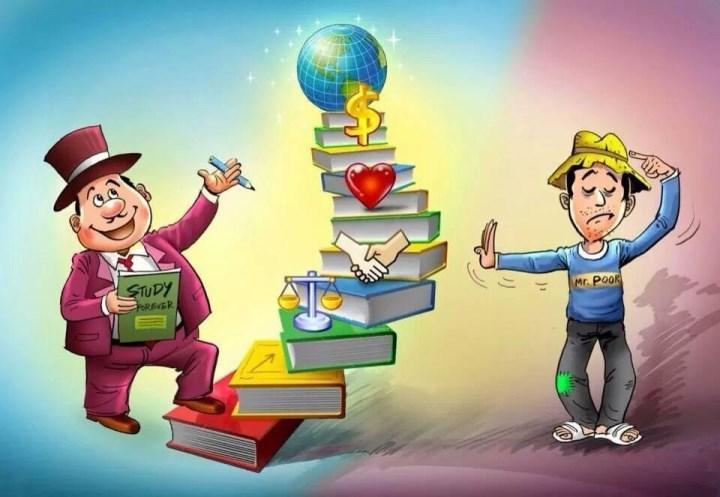 Рис. 1. Богатый получает знания, для бедного учеба – не главное