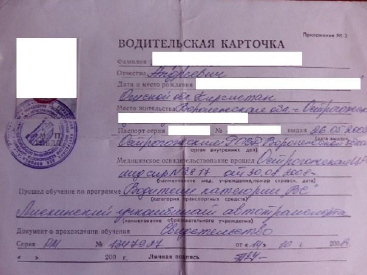 Рис. 1. Водительская карточка входит в перечень необходимых документов