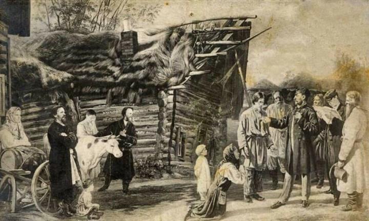 Рис. 2. Крепостные крестьяне 18 века
